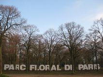 Il segno dell'entrata del Parc De floreale Parigi, Parigi immagine stock libera da diritti