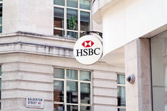 Il segno della banca di HSBC Fotografia Stock Libera da Diritti