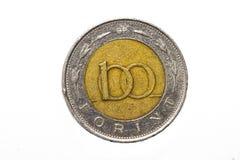 Il segno della forint: Ft; codice: Il HUF è la valuta dell'Ungheria Monete su fondo bianco isolato fotografia stock
