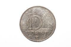 Il segno della forint: Ft; codice: Il HUF è la valuta dell'Ungheria Monete su fondo bianco isolato fotografia stock libera da diritti