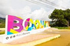 Il segno di Boquete s indica il punto panoramico Immagini Stock Libere da Diritti