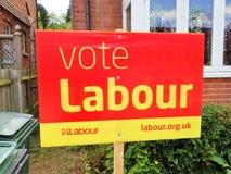 Il segno di elezione del partito laburista fotografie stock libere da diritti