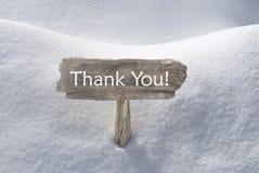 Il segno di Natale con neve ed il testo vi ringraziano Fotografia Stock Libera da Diritti