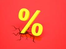 Il segno di percentuali causa una crepa Immagini Stock