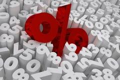 Il segno di percentuali sulla vendita bianca 3d delle cifre rende immagine stock libera da diritti