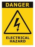 Il segno di rischio elettrico del pericolo con testo ha isolato Fotografia Stock