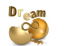 Il segno di sogno con l'oro di simbolo e della rottura dell'infinito egg illustrat 3d illustrazione di stock