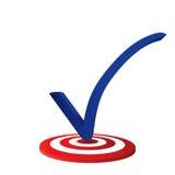 Il segno di spunta blu sopra targed nel fondo bianco Immagini Stock