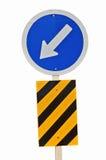 Il segno di traffico stradale e l'isola obbligatori su ordinazione della testa firmano Immagine Stock Libera da Diritti