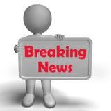 Il segno di ultime notizie mostra le notizie di titolo Fotografia Stock