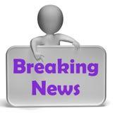 Il segno di ultime notizie significa la segnalazione aggiornata Fotografia Stock Libera da Diritti