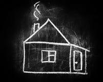 Il segno domestico gradisce il simbolo di un mercato immobiliare Fotografia Stock