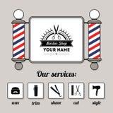Il segno ed i servizi del negozio di barbiere del salone di capelli progettano il modello Immagini Stock
