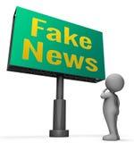 Il segno falso di notizie significa l'illustrazione di informazioni ingannevoli 3d Fotografia Stock