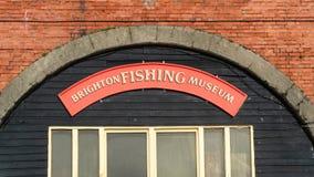 Il segno sopra l'entrata a Brighton Fishing Museum a Brighton, Regno Unito immagini stock
