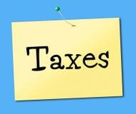 Il segno tassa le tasse e le funzioni di imposte indirette di mezzi Fotografia Stock