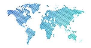 Il semitono nero ha punteggiato la mappa di mondo blu di pendenza Illustrazione di vettore Mappa punteggiata nella progettazione  illustrazione vettoriale