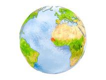 Il Senegal sul globo isolato Fotografia Stock