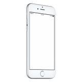 Il senso antiorario bianco del modello dello Smart Phone leggermente ha girato con lo schermo in bianco Fotografia Stock