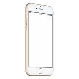 Il senso antiorario del modello dello smartphone dell'oro leggermente ha girato con lo schermo in bianco Fotografia Stock Libera da Diritti