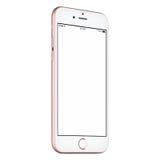 Il senso antiorario rosa di derisione dello Smart Phone su leggermente ha girato con lo schermo in bianco Fotografie Stock