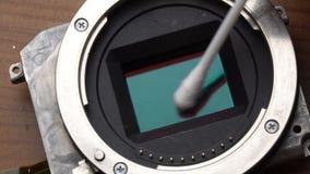 Il sensore della macchina fotografica di pulizia stock footage