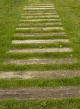 Il sentiero per pedoni dalle linee di legno Fotografia Stock