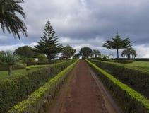 Il sentiero per pedoni della sporcizia in giardini al punto di vista Ponta fa Sossego con il cespuglio verde, le palme ed il gaze fotografia stock