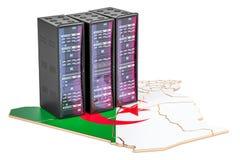 Il server del centro dati tormenta nel concetto dell'Algeria, la rappresentazione 3D Immagine Stock