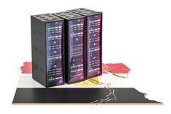 Il server del centro dati tormenta nel concetto dell'Egitto, la rappresentazione 3D Fotografie Stock