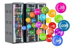 Il server del computer tormenta con i Domain Name, la rappresentazione 3D Fotografie Stock