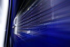 Il server della lama è un primo piano in una serie dei supercomputer Fotografia Stock Libera da Diritti