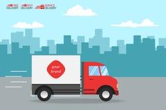 Il servizio del camion di consegna, ordina il trasporto mondiale, velocemente e libera Fotografie Stock Libere da Diritti