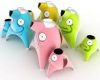 Il servizio del ` s dei bambini del caffè e del tè progettato sotto forma di personaggi dei cartoni animati ha stilizzato per gli illustrazione di stock