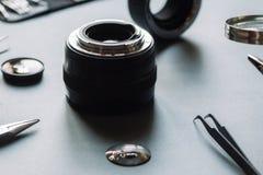Il servizio ottico della lente della foto di precisione, regola, allinea Fotografia Stock Libera da Diritti