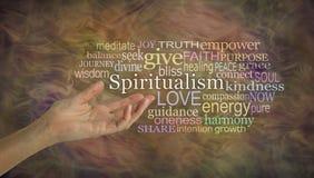 Il significato della nuvola di parola di spiritualismo Fotografie Stock Libere da Diritti