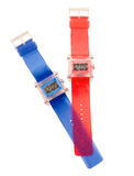 Orologi traslucidi semplici rossi e blu del silicone Fotografie Stock