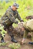 Il silvicoltore coltiva un albero Gli agricoltori stanno piantando gli alberi Fotografie Stock Libere da Diritti