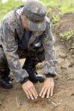 Il silvicoltore coltiva un albero Gli agricoltori stanno piantando gli alberi Immagini Stock Libere da Diritti