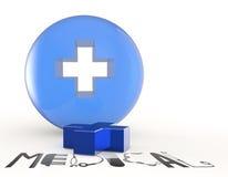 il simbolo 3d ed il testo medici virtuali progettano MEDICO Fotografie Stock