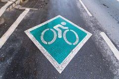 Il simbolo del bike' il percorso di s è sulla strada thailand fotografia stock