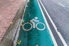 Il simbolo del bike' il percorso di s è sulla strada thailand fotografia stock libera da diritti
