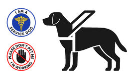 Il simbolo del cane guida con il cane rotondo di servizio due badges Immagine Stock Libera da Diritti