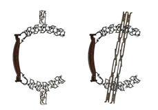 Il simbolo del centesimo americano ha montato dalle parti metalliche, isolate su bianco Fotografia Stock Libera da Diritti