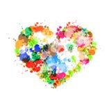 Il simbolo del cuore fatto da variopinto spruzza, macchie, macchie Fotografia Stock