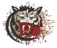 Il simbolo del lupo con sanguinoso spruzza Fotografia Stock Libera da Diritti