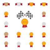 Il simbolo del premio e del trofeo colora l'icona piana sull'illustrazione bianca di vettore del fondo illustrazione di stock