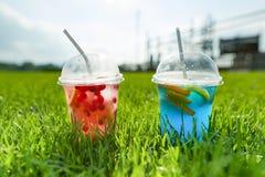 Il simbolo del rinfresco naturale dell'estate beve con ghiaccio, due vetri con la bevanda su fondo della zona della ricreazione d Fotografie Stock