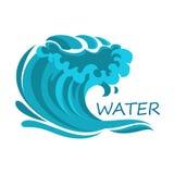 Il simbolo dell'onda di oceano con schiuma e spruzza Immagine Stock