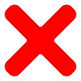 Il simbolo della croce rossa, icona come cancellazione, rimuove, insuccesso-guasto o incorr illustrazione di stock